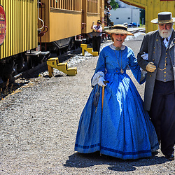 New Freedom, PA – June 25, 2016: Civil War reenactors portray Confederate General Robert E. Lee and his wife at the William H. Simpson #17, a replica steam locomotive.