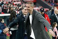 Athletic de Bilbao's coach Ernesto Valverde (l) and Deportivo de la Coruna's coach Gaizka Garitano Agirre during La Liga match. February 11,2017. (ALTERPHOTOS/Acero)