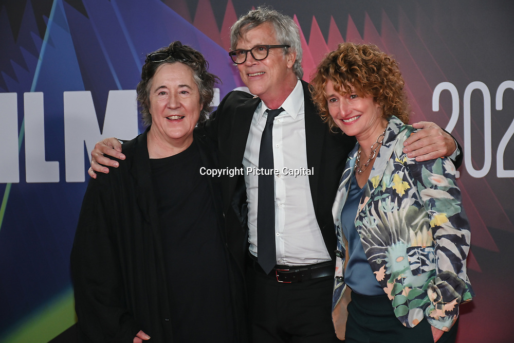 Christine Vachon, Todd Haynes and Tricia Tuttle arrives at The Velvet Underground - UK Film Premieres 2021 at Southbank Centre, Royal Festival Hall, London, 8 October 2021.