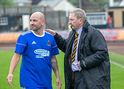 Cove Rangers Paul McManus and Berwick Rangers manager John Brownlie at the end. Cove Rangers have become the SPFL's newest side and ended Berwick Rangers' 68-year stay in Scotland's senior leagues by earning a League Two place. Berwick Rangers 0 v 3 Cove Rangers, League Two Play-Off Second Leg played 18/5/2019 at Berwick Rangers Stadium Shielfield Park.