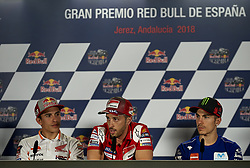 May 3, 2018 - Jerez De La Frontera, Cadiz, Spain - 25 Maverick Viales (Spanish) Movistar Yamaha MotoGP, #93 Marc Marquez (Spanish) Repsol Honda Team and #4 Andrea Dovizioso (Italian) Ducati Team in the press conference before of the Gran Premio Red Bull of Spain, Circuit of Jerez - Angel Nieto, Jerez de la Frontera, Spain. Thursday, 03rd May, 2018. (Credit Image: © Jose Breton/NurPhoto via ZUMA Press)