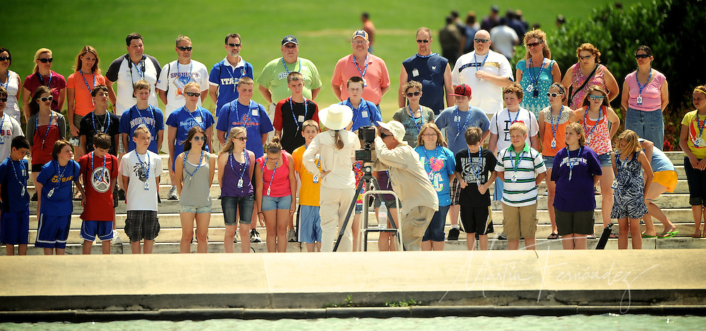 Washington D.C. photographer Jim Ivey preps his panoramic camera for a group shot on the grounds of The Capitol in Washington DC.
