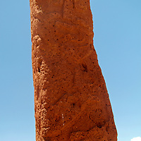 South America, Bolivia, Tiwanaku. Bearded Monolith of Pre-Columbian archaeological site of Tiwanaku, a UNESCO World Heritage Site.