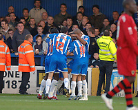 Photo: Ashley Pickering.<br /> Norwich City v Cardiff City. Coca Cola Championship. 21/10/2006.<br /> colchester celebrate their first goal scored by kevin mcleod