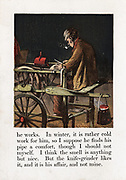 Itinerant Knife Grinder sharpening blade by turning grindwheel with treadle. Red can over grindwheel contains lubricant.  Brazier hangs on handle of cart.   Chromolithograph c1867