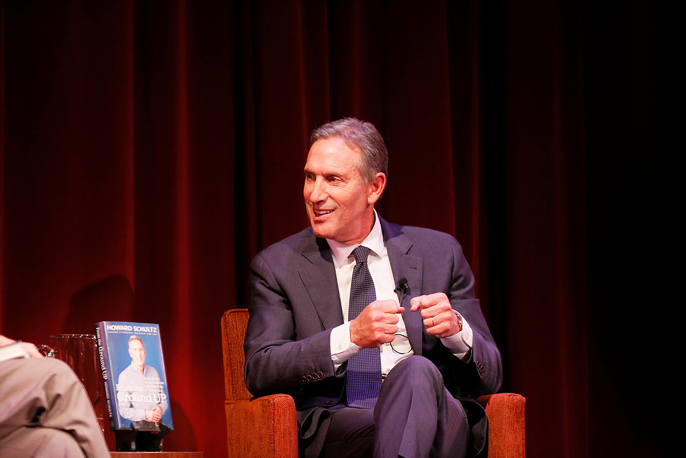"""Former Starbucks CEO Howard Schultz during a program at the Jewish Community Center on Friday, Feb. 1, 2019, in San Francisco, Calif. Schultz promoted his new book, """"From the Ground Up: A Journey to Reimagine the Promise of America."""""""
