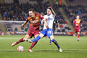 Bradford City forward Billy Clarke  attempts to block Bradford City defender Anthony McMahon shot during the The FA Cup match between Bradford City and Bury at the Coral Windows Stadium, Bradford, England on 19 January 2016. Photo by Simon Davies.