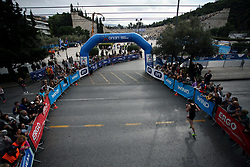 November 12, 2017 - Athens, Attica, Greece - A runner enters the Panathenaic stadium at the 35th Athens Classic Marathon in Athens, Greece, November 12, 2017. (Credit Image: © Giorgos Georgiou/NurPhoto via ZUMA Press)