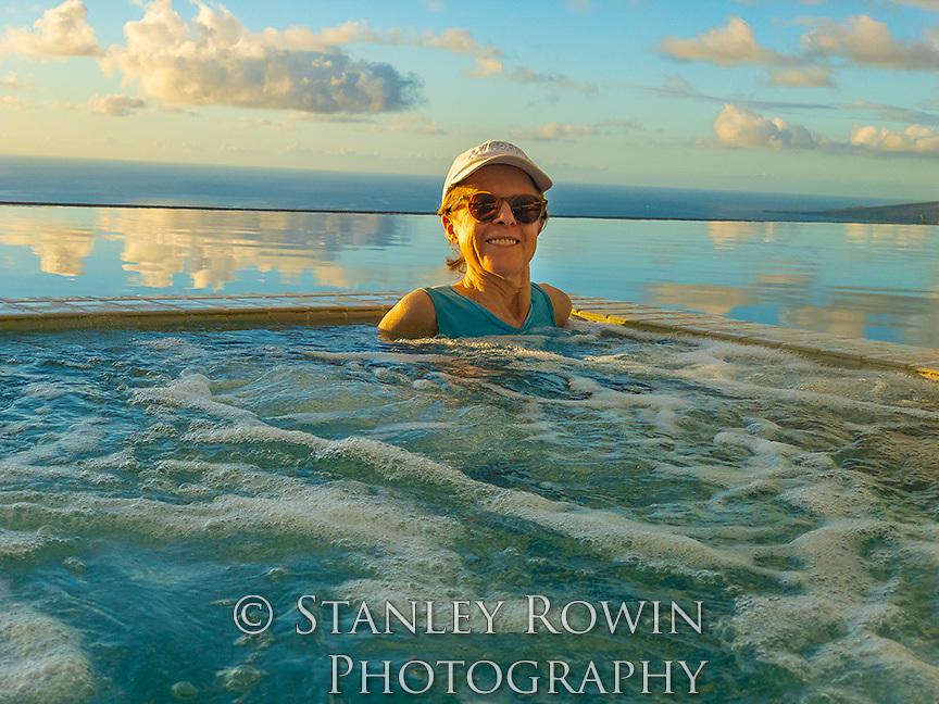 Woman in Infinity Pool, Horizon,