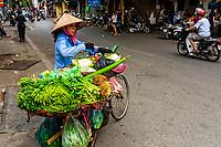 Street vendor selling vegetables from her bicycle, Hanoi, northern Vietnam.