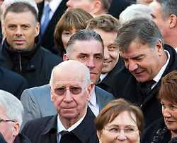 © under license to London News Pictures. 26/1/2011. Sir Bobby Charlton and Sam Allardyce arriving at the funeral of Bolton Wonderers and England star, Nat Lofthouse at Bolton Parish Church today (26/01/2011) Nat died at the age of 85. Photo credit should read:Joel Goodman/LNP