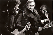 Johnny Cash and Kris Kristopherson play at the University Concert Halll,Limerick,Ireland in 1993...Photograph by Eamon Ward