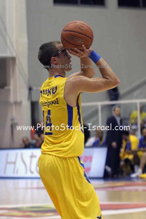 Maccabi Tel Aviv Basketball team (Yellow) Playing Hapoel Gilboa-Galil (Red) on October 16th 2011. Final result Maccabi 95 Hapoel 60 Jon Scheyer