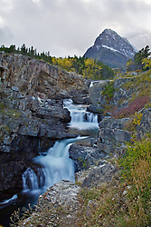 Swiftcurrent Falls and Grinnell Peak in Glacier National Park