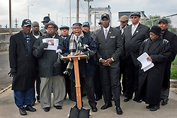 02 March 2010. New Orleans, Louisiana, USA. <br /> Civil Rights leaders gather at the notorious Danziger Bridge in New Orleans East, scene of the Sunday Sept 4th, 2005 murder of 40 yr old Ronald Madison and 19 yr old James Brissette by New Orleans police. <br /> Reverend Dr Norwood Thompson Jr addresses the media.<br /> The police are under federal investigation for an alleged cover up of the botched killings in the chaotic aftermath of hurricane Katrina. <br /> Photo; Charlie Varley.