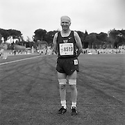 77-year-old senior athlete Harry Brown of Wauconda, Illinois, USA, is photographed after running in the 75-79 age bracket men's 100 meter trials during the 2007 World Masters Championships Stadia (track and field competition) at Riccione Stadium in Riccione, Italy on September 6, 2007. ..9,000 male and female athletes over the age of 35 from 90 countries competed in two weeks of track and field events at the 17th annual event. The event is run by  the World Association of Masters Athletes, the organization designated by the IAAF (The International Association of Athletics Federations) to conduct the worldwide sport of masters athletics. The organization runs competitions and maintains record standings in the 5-year increment age divisions.  ...