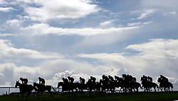 Runners and riders in the Adare Manor Opportunity Series Final Handicap Hurdle during day two of the Punchestown Festival 2018 at Punchestown Racecourse, County Kildare.