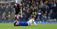 Football - 2016 / 2017 Premier League - Everton vs. Manchester City<br /> <br /> Kevin Mirallas of Everton is checked on by John Stones of Manchester City during the match at Goodison Park.<br /> <br /> COLORSPORT/LYNNE CAMERON