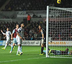 West Ham United's Winston Reid effort goes over the bar - Photo mandatory by-line: Joe Meredith/JMP - Tel: Mobile: 07966 386802 27/10/2013 - SPORT - FOOTBALL - Liberty Stadium - Swansea - Swansea City v West Ham United - Barclays Premier League