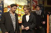 Joe Rush, Bridget Hugo and James Firman. Opening of  Santa's Ghetto. Mixed art exhibition.  9 Berwick St. Soho, London. 30  November 2005. ONE TIME USE ONLY - DO NOT ARCHIVE  © Copyright Photograph by Dafydd Jones 66 Stockwell Park Rd. London SW9 0DA Tel 020 7733 0108 www.dafjones.com