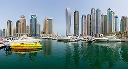 Skyline of high-rise apartment towers at Dubai Marina in Dubai United Arab Emirates