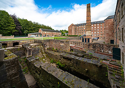 View of historic preserved Stanley Mills  former cotton mills factory in Stanley, Perthshire, Scotland, UK