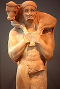 GREECE, HISTORIC ART AND ARTIFACTS Moschoporos the Calf Bearer from 570C B.C.; Acropolis Museum, Athens