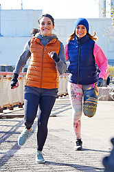 "Jennifer Lopez and Vanessa Hudgens seen jogging on the Lower East Side while filming for a ""Second act"" movie. 27 Nov 2017 Pictured: Jennifer Lopez and Vanessa Hudgens. Photo credit: MEGA TheMegaAgency.com +1 888 505 6342"