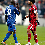 Besiktas's Ibrahim Toraman (R) and Kardemir Karabukspor's Lomana Tresor Lualua (L) during their Turkish superleague soccer match Besiktas between Kardemir Karabukspor at BJK Inonu Stadium in Istanbul Turkey on Friady, 01 February 2013. Photo by TURKPIX