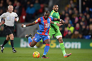 Yannick Bolasie of Crystal Palace takies a shot at goal. Barclays Premier league match, Crystal Palace v Sunderland at Selhurst Park in London on Monday 23rd November 2015.<br /> pic by John Patrick Fletcher, Andrew Orchard sports photography.