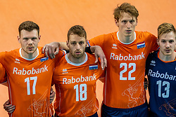 Michael Parkinson of Netherlands, Robbert Andringa of Netherlands, Twan Wiltenburg of Netherlands, Steven Ottevanger of Netherlands in action during the CEV Eurovolley 2021 Qualifiers between Croatia and Netherlands at Topsporthall Omnisport on May 16, 2021 in Apeldoorn, Netherlands
