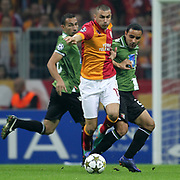 Galatasaray's Burak Yilmaz (L) and Braga's Ismaily Gonçalves dos Santos (R) during their UEFA Champions League Group H matchday 2 soccer match Galatasaray between Braga at the TT Arena Ali Sami Yen Spor Kompleksi in Istanbul, Turkey on Tuesday 02 October 2012. Photo by TURKPIX