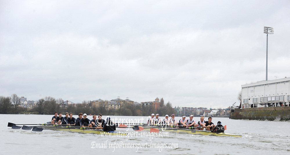 Putney, GREAT BRITAIN,  Both crews racing along the Fulham Wall Oxford left, during the  2010  Varsity/Oxford University  vs Leander Club, raced over the championship course. Putney to Mortlake, Sat. 20.03.2010. [Mandatory Credit, Peter Spurrier/Intersport-images]