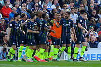 BRIGHTON, ENGLAND - MAY 12:   Riyad Mahrez (26) of Manchester City celebrates after he scores a goal to make the score 1-3 during the Premier League match between Brighton & Hove Albion and Manchester City at American Express Community Stadium on May 12, 2019 in Brighton, United Kingdom. (MB Media)
