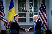 President Donald Trump holds a joint press conference with Klaus Iohannis, Romania's president, in the Rose Garden at the White House in Washington, District of Columbia, U.S., on Friday, June 9, 2017. Trump and Iohannis will discussed the 20-year-old strategic partnerships that the two countries have.