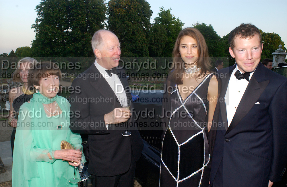 Lord and Lady rothschild, Nat Rothschild and Evgenia Slioussarenko, Louis Vuitton classic and celebration of their 150 anniversary. Waddesdon Manor, June 4 2004. ONE TIME USE ONLY - DO NOT ARCHIVE  © Copyright Photograph by Dafydd Jones 66 Stockwell Park Rd. London SW9 0DA Tel 020 7733 0108 www.dafjones.com