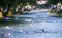 07.07.2019, Klagenfurt, AUT, Ironman Austria, Schwimmen, im Bild Übersicht Schwimmen // Swimmer during the swimming competition of the Ironman Austria in Klagenfurt, Austria on 2019/07/07. EXPA Pictures © 2019, PhotoCredit: EXPA/ Johann Groder
