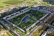 Nederland, Zuid-Holland, Leidschendam, 09-05-2013; De Prinsenhof, nieuwbouwwijk uit de jaren zestig, overloopgebied voor Den Haag. Basisontwerp is rechthoekig hof bestaande uit dubbele ring van woningen (middelhoogbouw) met daarbinnen voorzieningen in het groen. Wederopbouwgebied.<br /> New residential area built in the sixties, overflow area for The Hague. Basic design is rectangular court with a double ring of housing (medium-rise) and green courtyard in the middle. Reconstruction area.<br /> luchtfoto (toeslag op standard tarieven)<br /> aerial photo (additional fee required)<br /> copyright foto/photo Siebe Swart