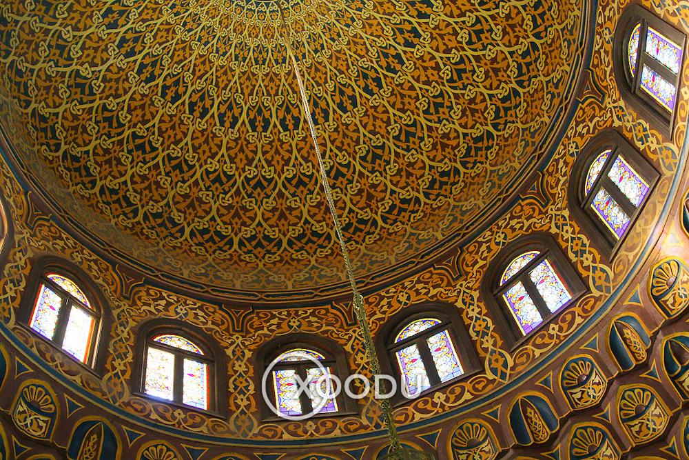 Ornate dome decoration in Al-Azhar mosque, Cairo, Egypt (December 2007)