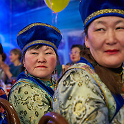 """New Year celebration by Buryati villagers living in Selenga in the Kabansk region along the shore at Russia's Lake Baikal. Crowned the """"Jewel of Siberia"""", Baikal is the world's deepest lake, and the biggest lake by volume, holding 20% of the world's fresh water. In the winter, the lake 31,722 square meter surface is entirely frozen with ice averaging 2 meters thick."""