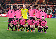 The Scotland team during the U21 UEFA EURO first qualifying round match between England and Scotland at the Riverside Stadium, Middlesbrough, England on 6 October 2017. Photo by Paul Thompson.