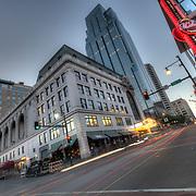 13th & Main Street intersection traffic motion blur and light trails, downtown Kansas City, Missouri.