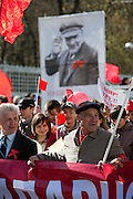 Moscow, Russia, 01/05/2009..Annual Mayday celebrations in Russia. Several thousand Communist demonstrators march through Moscow, with their protests this year focusing on the world economic crisis that has hit the previously booming Russian economy hard.