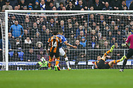 Dominic Calvert-Lewin of Everton taps the ball in to score his teams 1st goal.  Premier league match, Everton v Hull city at Goodison Park in Liverpool, Merseyside on Saturday 18th March 2017.<br /> pic by Chris Stading, Andrew Orchard sports photography.