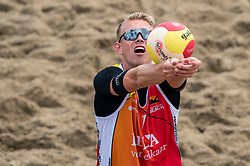 Stefan Bormans in action. The Final Day of the DELA NK Beach volleyball for men and women will be played in The Hague Beach Stadium on the beach of Scheveningen on 23 July 2020 in Zaandam.