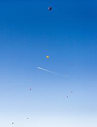 11.02.2015, Zell am See - Kaprun, AUT, BalloonAlps, im Bild Heissluftballone bei ihrer Fahrt // BalloonAlps, The Alps Crossing Event balloonalps is Austria's international Winter balloon week in front of the backdrop of the Hohe Tauern, Zell am See Kaprun on 2015/02/11, . EXPA Pictures © 2014, PhotoCredit: EXPA/ JFK