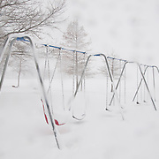 Playground equipment is un-used during a major blizzard in Wakefield, Massachusetts