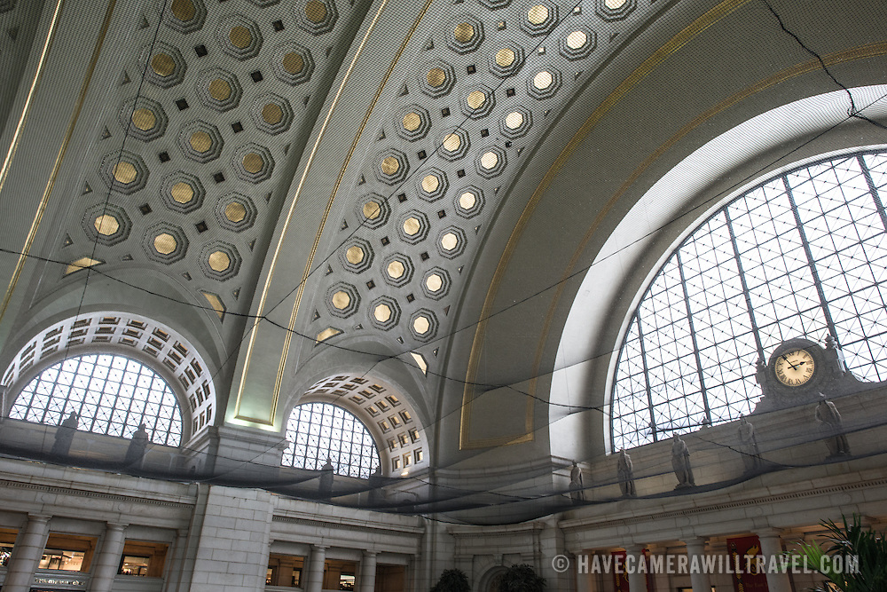 Repairs and renovations at Washington DC's Union Station. Some of the repairs were necessitated by earthquake damage to the historic structure.