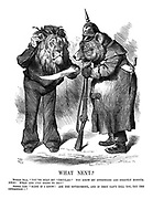 """What Next? Russian Bear.""""You've read my 'circular!' You know my intentions are strictly honourable! What are you going to do?"""" British Lion, """"Blest if I know! Ask the government, and if they can't tell you, try the opposition!!"""""""