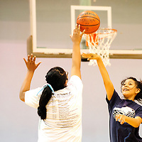111412  Adron Gardner<br /> <br /> Marissa Charley, left, knocks down a shot attempt from Shantana Morris during freshman and junior varsity basketball practice at Window Rock High School in Fort Defiance Wednesday.